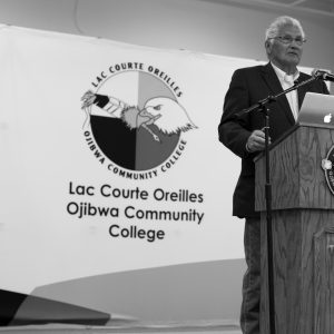 With John Poupart at the Lac Courte Oreilles Ojibwa Community College in Wisconsin